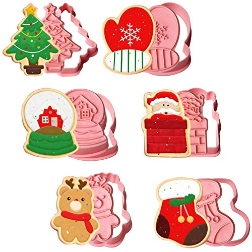 Christmas Cookie Cutter Shapes, 6pcs 3D Pressable Christmas Biscuit Cutters Set - Santa, Glove, Reindeer, Sock, House, Christmas Tree, Embossed Stamped Pastry Cutters for Kitchen Bakeware