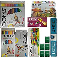 Doms 1 Mathematical Instrument Box, 12 Shades 1 Colour Pencils, 12 Shades Poster Colours, 24 Colour Pencils, 10 Mumma's Boy Pencils, 5 M-Tech Erasers, 20 Pencil Sharpeners, 16 Extra Long Wax Crayons