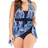 SUCCESS Costume da Bagno Donna Stomach Puch Up Taglie Forti Mesh Patchwork conservativo Stampa Stampa Costume da Bagno Swimwear Moda Mare