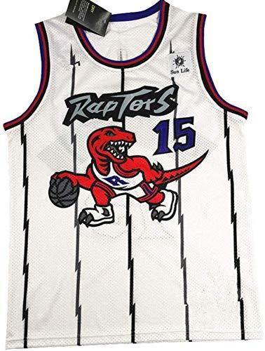YOYO Traje De Baloncesto NBA Jersey Raptors No. 15 Carter Vintage White Purple Dragon Bordado Servicio De Pelota,White-L