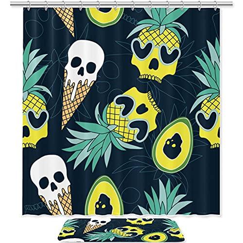 WANNABUY Rideau de douche imperméable (180 cm) avec 12 crochets et tapis de bain antidérapant (49,6 x 80,9 cm) - Lot de 2 têtes de mort ananas crème glacée