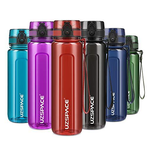 UZSPACE Botella de Agua Deportiva 500ml-750ml-1000m,Botella de Agua Tritan Ecológica y sin BPA. Reutilizable con Tapa a Prueba de Fugas para Correr, Gimnasio, Yoga, al Aire Libre y Acampar