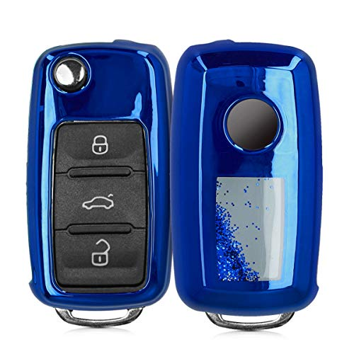 kwmobile Autoschlüssel Hülle kompatibel mit VW Skoda Seat 3-Tasten Autoschlüssel - TPU Schutzhülle Schlüsselhülle Cover Schneekugel Sterne Blau Metallic Blau