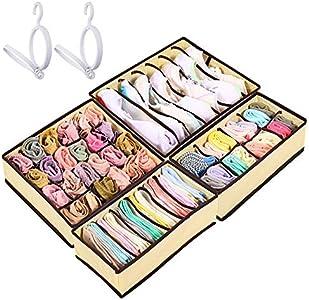 Organizador de Ropa Interior, 2 Sombrero Rack y Armario Plegable cajón Divisor 4 Juegos, para Ropa Interior Calcetines Bufandas Sujetador Pañuelos Interior Organizadores de cajones