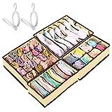 Soulpala Set di 4 Cassetto Organizer per Biancheria Intima e 2 Porta Cappello, Pieghevole cassetto organizzatori, Cravatte Sciarpe Accessori Fazzoletti e Cravatte Storage Box Organizer per cassetti