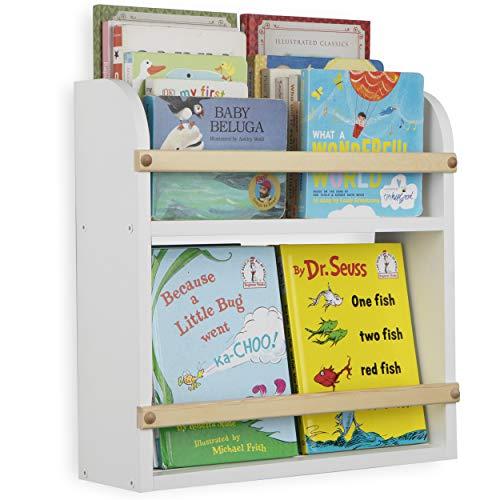Wallniture Utah Wall Mount Bookshelf Kids Room Décor Nursery Organizer Diaper Caddy Book Photo Display 2 Tier Shelf White