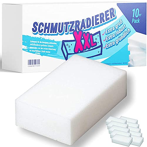 AMZTRADE® Schmutzradierer XXL Zauberschwamm und Radierschwamm  10 Stck. Spar Pack Made in Germany   extra groß: 12,5 x 6,5 x 3 cm   Profi Melaminschwamm als Fleckenentferner und Wandreiniger
