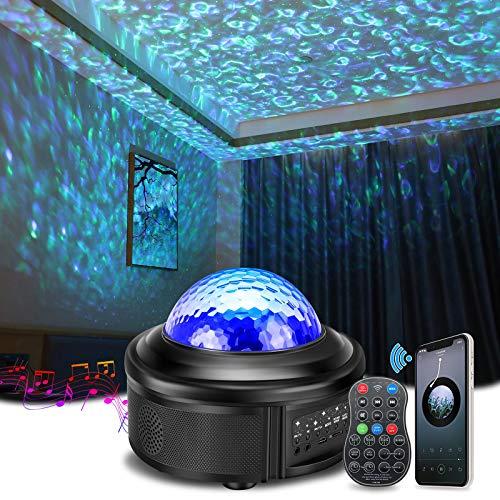 Sternenhimmel Projektor, SOLMORE 360°Rotierende Ferngesteuerte Ozeanwellen Projektionslampe,Musikspieler mit Bluetooth & Timer, 10 Farbmodi Nachtlicht für Weihnachten Halloween Party