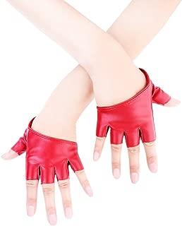 Women Half Palm Half Finger PU Leather Dancing Punk Gloves