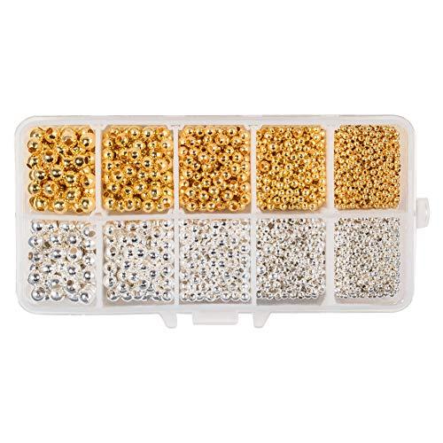 PandaHall Elite 2340 Teile/schachtel Runde Messing Spacer Perlen mit Großes Loch für DIY Schmuckherstellung, Golden/Silber