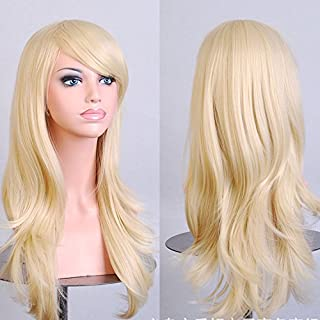 Wigood 28 Inch Blonde Wig Long Curly Hair with Air Bangs Free Wig Cap Cosplay Halloween Wig for Women