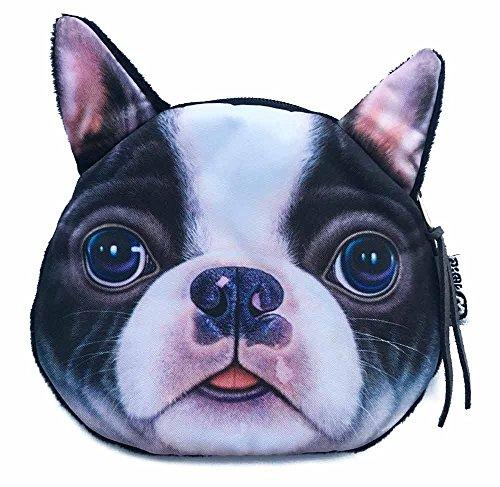 Boston Terrier Face Wallet   Cute and Creative Dog Head Zipper Closure Coin Purse