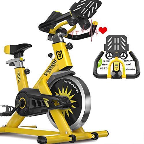 Wosxyeal Fitness Fahrrad Heimtrainer Fahrradtrainer Spinning Bikes Riemenantrieb leise Verstellbare Lenker und Sitz Herzfrequenzmonitor & LCD Monitor 6kg Schwungrad Benutzergewicht bis 150kg