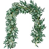 TOPHOUSE 2 Pack Artificial Eucalyptus Garland with Willow Leaves, 6.5 Feet Fake Greenery Vines Swag for Wedding Table Runner Doorways Decoration Indoor Outdoor