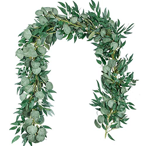 TOPHOUSE 6.5 Feet Artificial Silver Dollar Eucalyptus Leaves Garland and 6 Feet Willow Vines Twigs Leaves Garland String for Doorways Greenery Garland Table Runner Garland Indoor Outdoor.