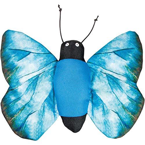 Hundespielzeug Blauer Schmetterling 28 x 21 cm Riesengroßer Spiel Schmetterling aus weichem Stoff Mit Quietscher und Knister Flügeln