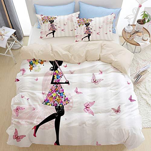 NOLOVVHA Bettwäsche-Set,Mikrofaser Beige,Mode-Mädchen-Märchen-Zusammenfassungs-Schattenbild der Frau mit Blumenrock-Regenschirm-gehendem Schmetterlings-Tanzen,1 Bettbezug 240x260 + 2 Kopfkissenbezug