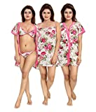 SANJH Women's Satin 4 Piece Honeymoon Nightwear Set (Pink, Free Size)