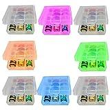 GTIWUNG 8 Piezas Caja de Batería de Plástico, Caja de Almacenamiento para Baterías, Organizador para Pilas- Caja de Batería para 18650 14500 AA y AAA, Colorido y Transparente