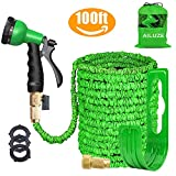 AILUZE Garden Hose 100FT- Expanding Garden Water Hose Pipe with 8 Function Spray