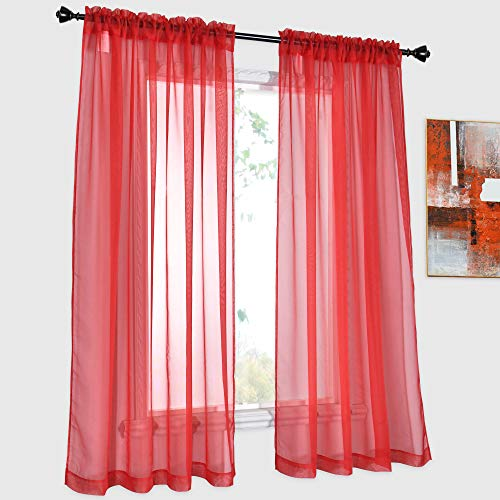DONREN Red Sheer Curtains Transparent Voile Rod Pocket Curtains for Bedroom and Living Room, 52 x 45 inches Long, Set of 2 Panels