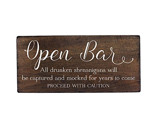 Elegant Signs Wedding Open Bar Sign Drunken Shenanigans for Party Decoration by Fun Sign for Your Reception