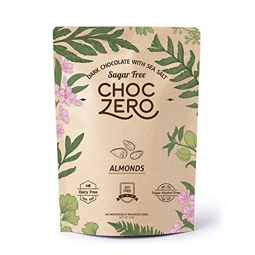 ChocZero's Keto Bark, Dark Chocolate Almonds with Sea Salt. 100% Stone-Ground, Sugar Free, Low Carb. No Sugar Alcohols, No Artificial Sweeteners, All Natural, Non-GMO (6 bars/box)