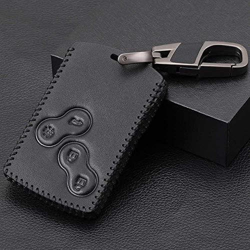 UIEMMY Nuevo diseño, 4 Botones, Cuero, Estilo de Coche, Funda Protectora para Llave para Renault Clio Logan Megane 2 3 Koleos, Tarjeta escénica, línea Negra