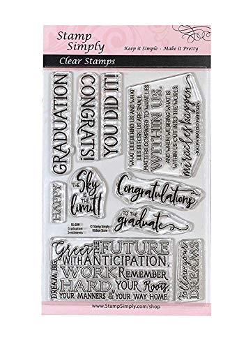 Stamp Simply Clear Stamps Graduation Sentiments Congratulations Graduate 4x6 Inch Sheets - 10 Pieces