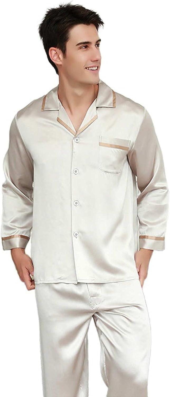 LZJDS Pure Silk Pyjamas for Men Set Long Sleeve Sleepwear Pyjama Set 22 Momme Mulberry Silk Lightweight Male Pjs,Beige,3XL