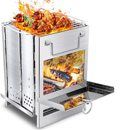 A&Q Parrilla de carbón, Estufa de leña portátil Estufa de leña Plegable de Acero Inoxidable con Placa de Forma de Rejilla, Adecuada para Acampar, picnics