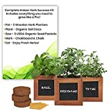 Indoor Herb Garden Kit with Wooden Herb Planters, Basil, Oregano & Thyme Organic Herb Seeds. A Complete Gardening Kit with Everything to Grow Herb Plants. Great Gardening Gifts for Women & Men.