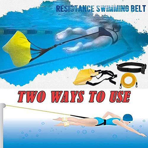Zihui Schwimm-Bungee-Trainingsgürtel, 3 M Schwimmfallschirm Schwimmtrainer-Leine Für Stationäres Training Mobiles Gegenstromsystem Einstellbare Schwimmende Widerstandsbänder, Gelb