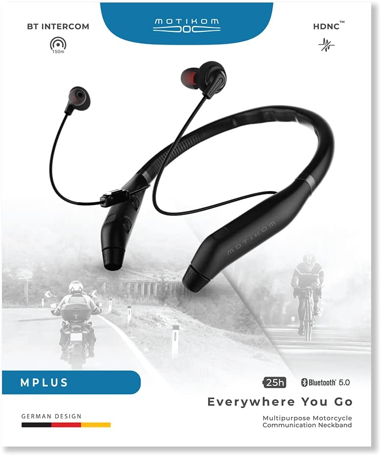 Motikom MPlus Pack (Limited Edition)   Motorcycle Bluetooth Headphone Communication System   World First Crossover Neckband Headphone