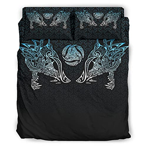 Josephion Juego de sábanas de 4 piezas Viking Wolf Sábanas lisas resistentes a las manchas para el hogar dormitorio blanco 175 x 218 cm