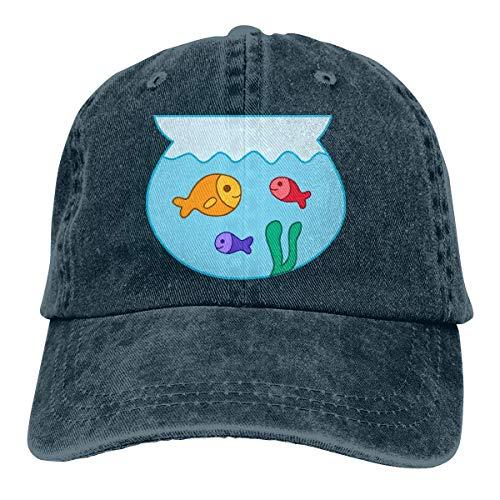 OOworld Cartoon Fish in A Bowl Berretto da Baseball Regolabile per Uomo o Donna Jeans Vintage Regolabile