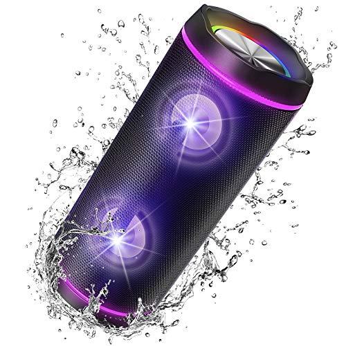 VOKSUN Kabelloser Bluetooth Lautsprecher 5.0, 40W Tragbarer Bluetooth Box mit Fantastischer TWS Stereo Sound/Max Bass, IP67 Wasserdicht Musikbox mit Buntem LED-Licht für Outdoor Feiern Party