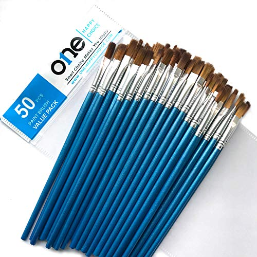 50 Pieces Value Pack of Flat Paint Brush, Synthetic Sable Soft Hair, Small Size, Short Handle, Bulk Brush Set for Acrylic, Oil, Watercolor Painting, Precise Makeup, Dry Brushing, Blending