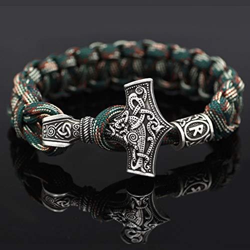 Thors Hammer Armband, nordische Wikinger Rune Knot Amulett, Mjolnir handgemachte Regenschirm String Armband, Gothic Armband Schmuck,R