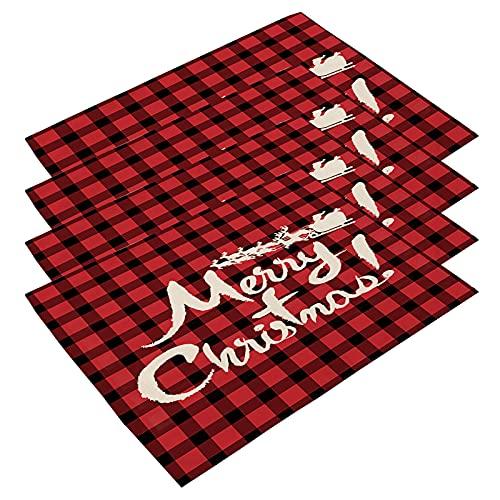 WSYW 4 manteles de Navidad de algodón y lino a cuadros de...