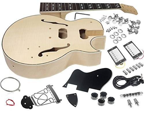Solo ES Style DIY Guitar Kit, Maple Body, Flamed Maple Top, Hollow Body, ESK-75