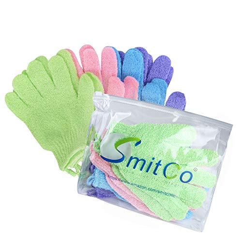 SMITCO Exfoliating Gloves - Body Exfoliator Scrubbers for Use In Shower or Bath - 4 pairs for Men and Women to Remove Rough Skin and Ingrown Hairs - Machine Washable