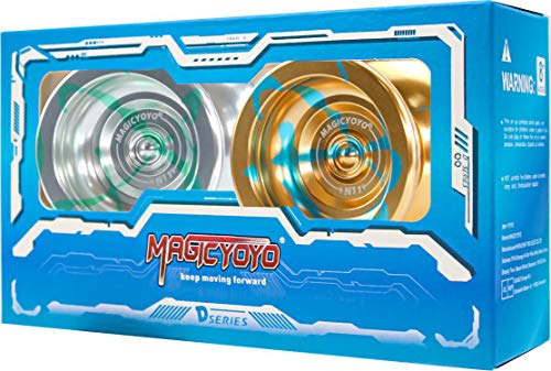 MAGICYOYO Pack of 2 N11 Professional Unresponsive Yoyo Alloy Aluminum YoYo Ball with 2 Bags, 2 Gloves and 10 Strings(N11 Golden Blue and N11 Silver Green)