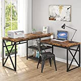 Tribesigns L Shaped Desk, Industrial Sit Stand L Desk with Storage Shelves, Rustic Corner Computer Office Desk for Home Office