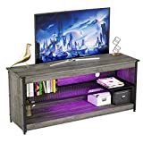 BESTIER Modern TV Stand 20 Color RGB Light Entertainment Center,55' TV Console Mid-Metal Mesh Television Stands with 2-Tier Storage Cabinet Media Player for Living Bedroom up to 60 inch TV, Gray