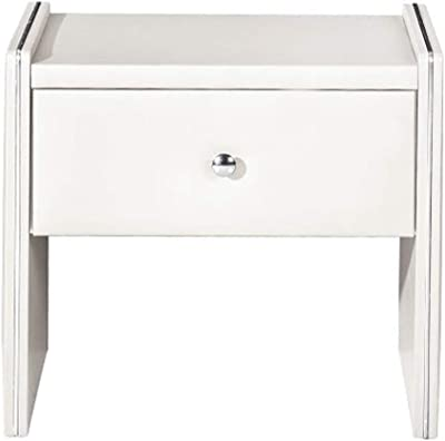Benjara Leather Upholstered Wooden Nightstand with One Drawer, White,