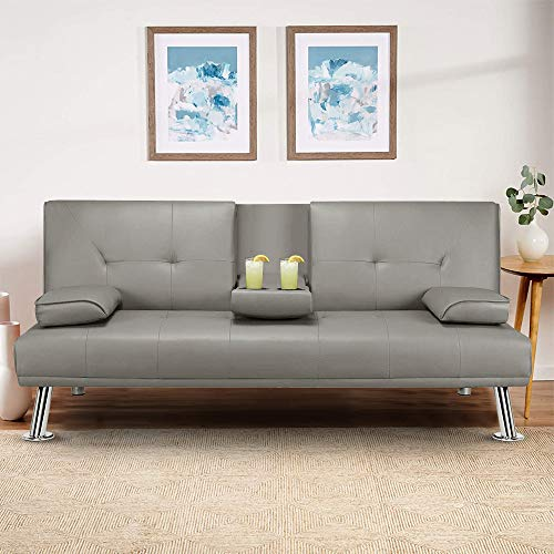 MOOSENG Faux Leather Sofa Bed Fold Up and Down Futon Convertible Sets with Armrest Recliner Couch Home Furniture, Gray