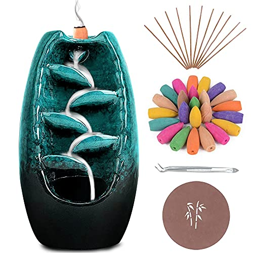 Anbar Backflow Incense Burner with 120 Cones, 30 Sticks, Tongs, and Table Mat, Natural Aromatherapy with Ceramic Smoke Waterfall, Supports Meditation and Relaxation, Home Decor (Blue)