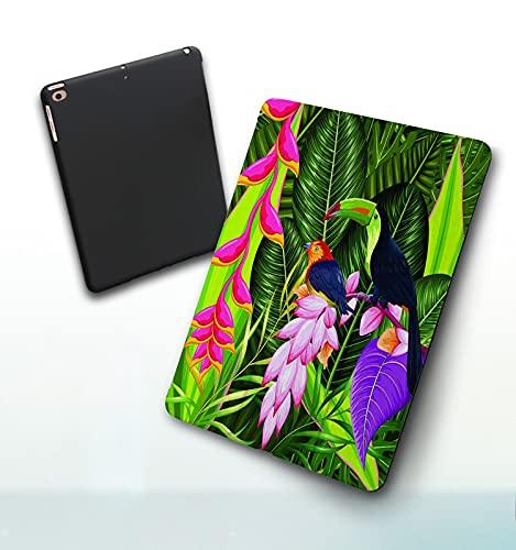 Funda para iPad 9,7 Pulgadas, 2018/2017 Modelo, 6ª / 5ª generación,Fondo Tropical exótico con Flores de Colores y tucán Smart Leather Stand Cover with Auto Wake/Sleep
