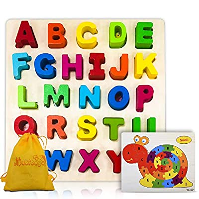 Amazon - Save 30%: PETITOY Wooden Alphabet Puzzles Early Educational Jigsaw Toys for Toddlers…